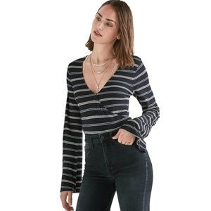New LUCKY BRAND Navy Stripe Wrap Top Large